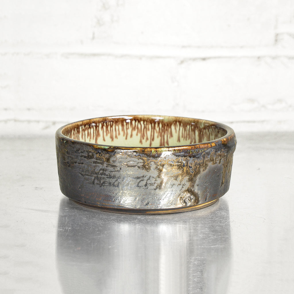 "NEW! 6"" Bronze Cylinder Bowl in Celadon by Alice Goldsmith"