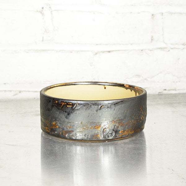 "NEW! 6"" Bronze Cylinder Bowl in Parchment by Alice Goldsmith"