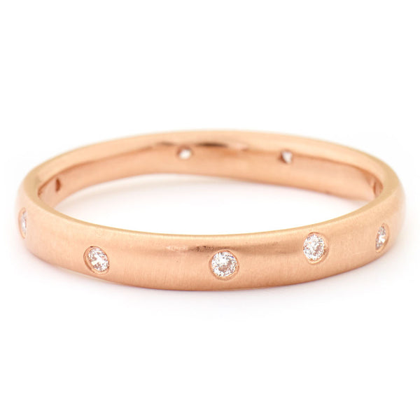 Rose Gold Diamond Wonky Band by Anne Sportun - Fire Opal