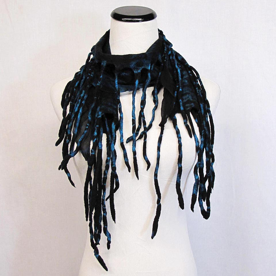 Scarf in Black/Turquoise by B. Felt - Fire Opal