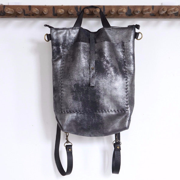 Small Bercy- Convertible Backpac/Shoulder Bag in Distressed Black by Stitch & Tickle