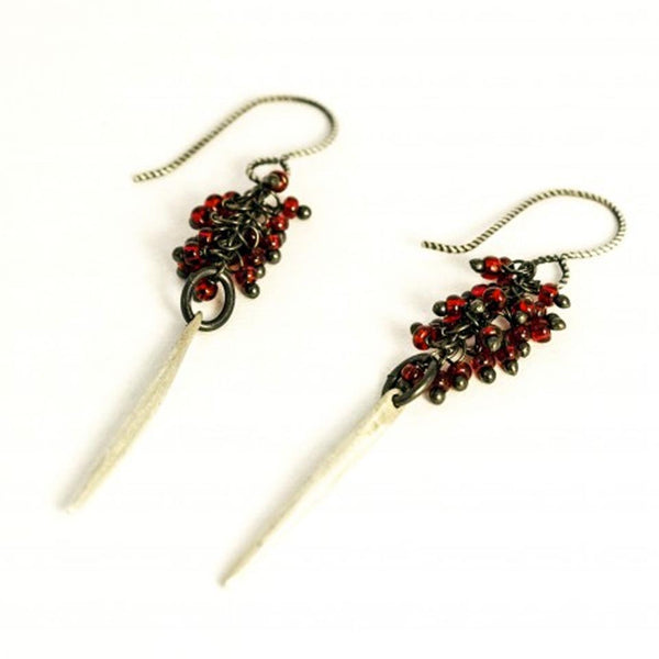 Cluster Garnet with Pine Needle Earrings by Claudia Kussano - Fire Opal - 1