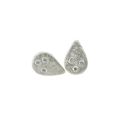 Weathered Diamond Droplet Studs by Sarah Swell
