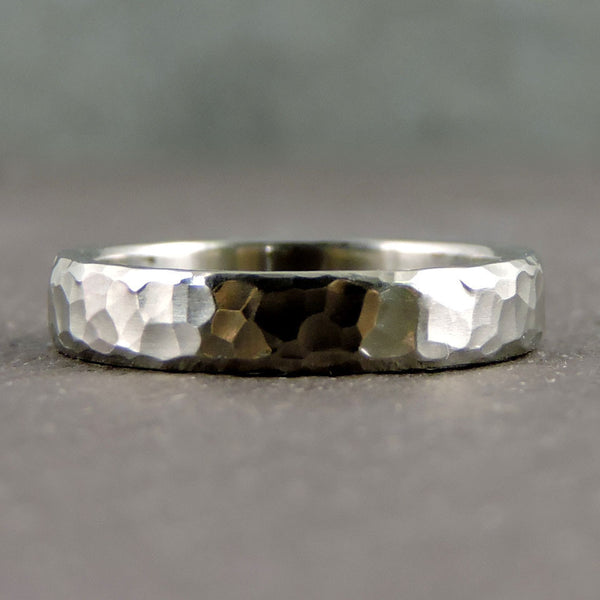 Random Hammered Palladium Band by EC Design - Fire Opal - 1