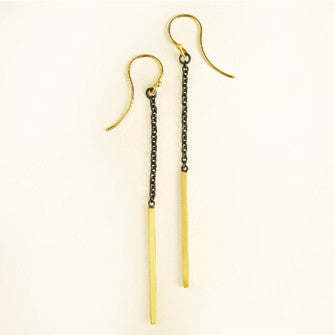 Vertical Bar Earrings by Carla Caruso - Fire Opal