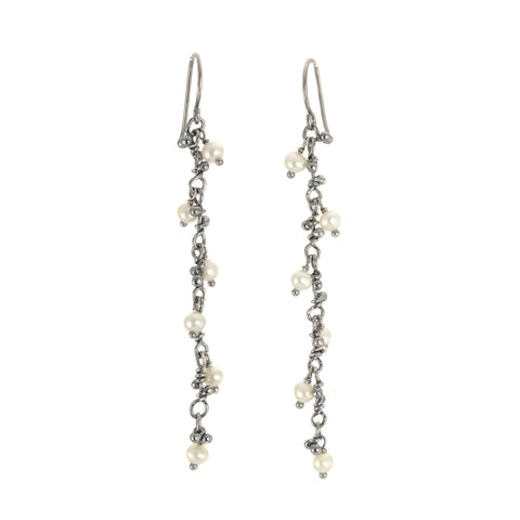 NEW! White Pearl Line Caviar Crochet Earrings by Magally Lopez