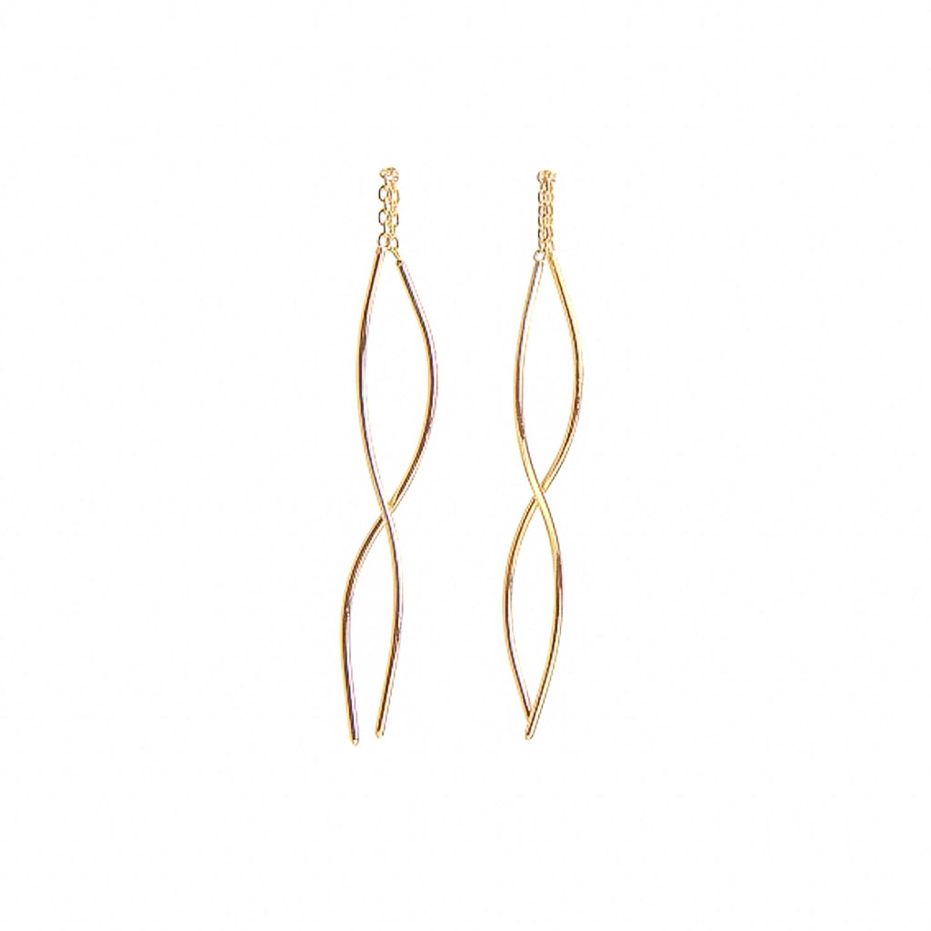 NEW! Long Curved Thread-Thru Earrings in Gold by Shaesby