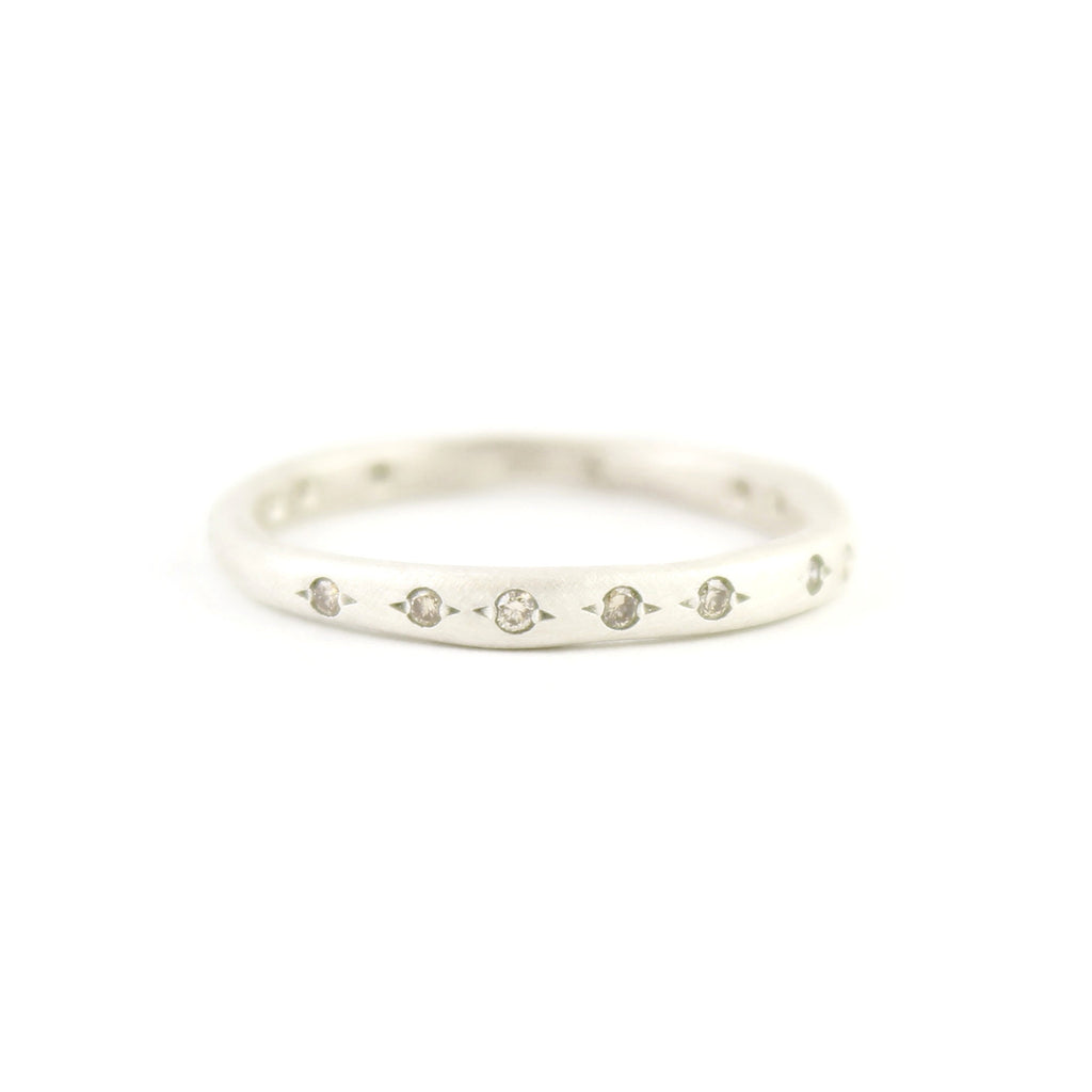 Sterling Silver Irregular Band with Diamonds Ring by Yasuko Azuma