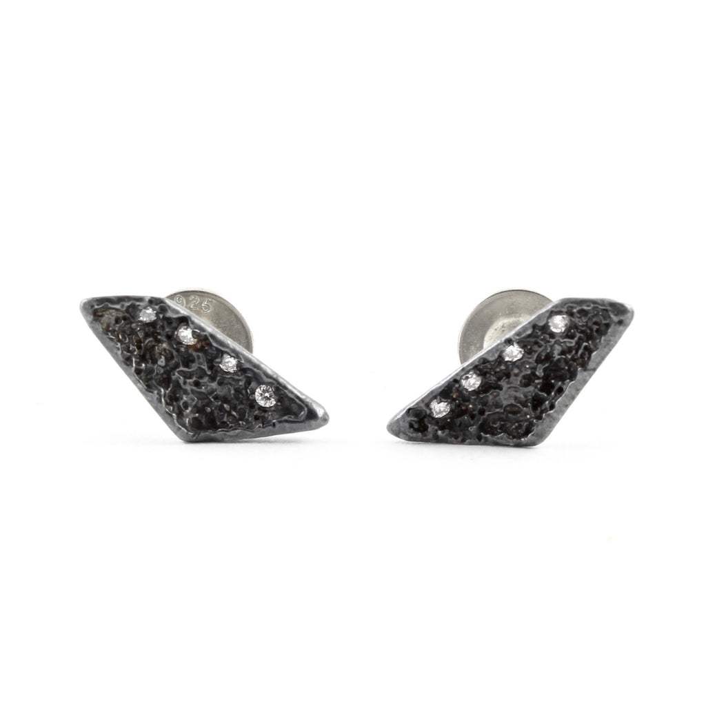 Trapezoid Lava Studs by Branch - Fire Opal - 1