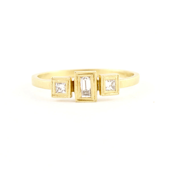 Blockette Small Baguette Three Stone Ring by Dawes Design