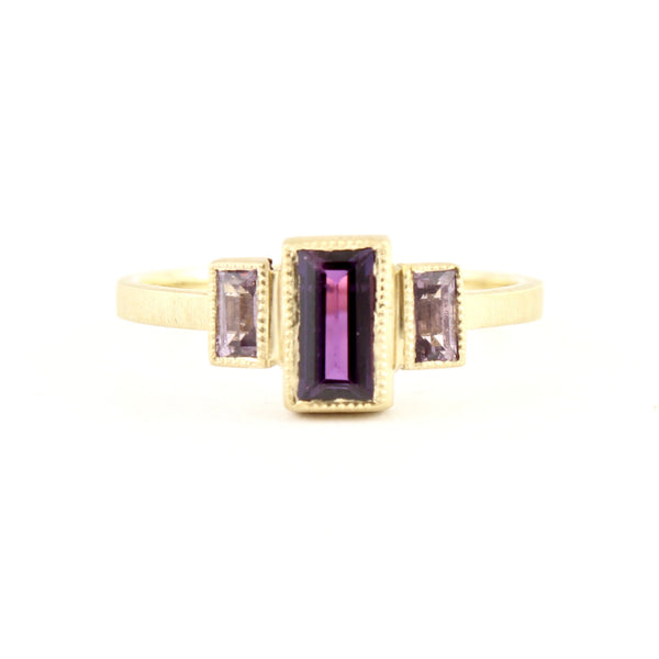 Purple Blockette Baguette Three Stone Ring by Dawes Design