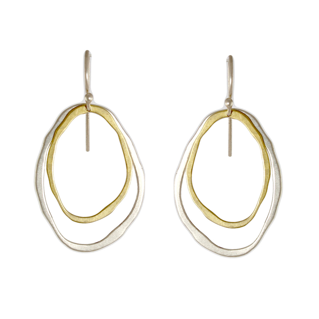 Thin Two Layer Two-Tone Earrings by Lisa Crowder