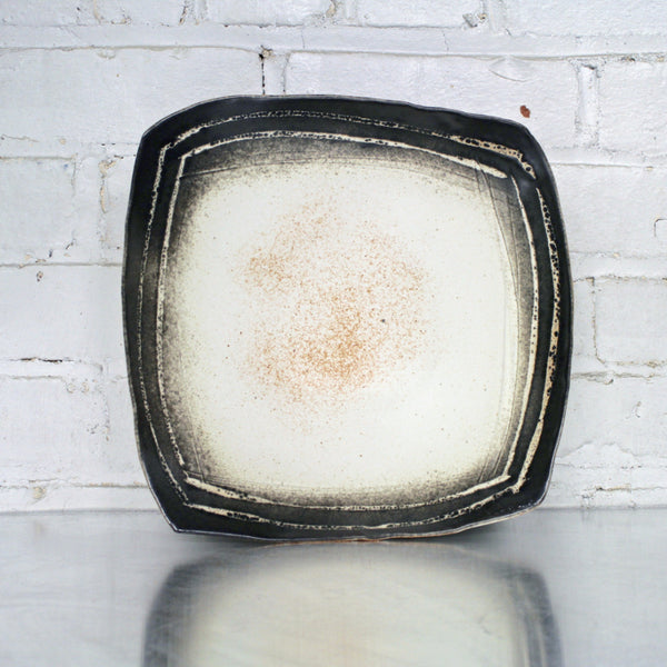 Yellow/Black Large Square Bowl by Eric Jensen