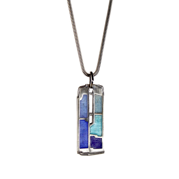 Small Rectangular Enamel Open Center Pendant by Carly Wright