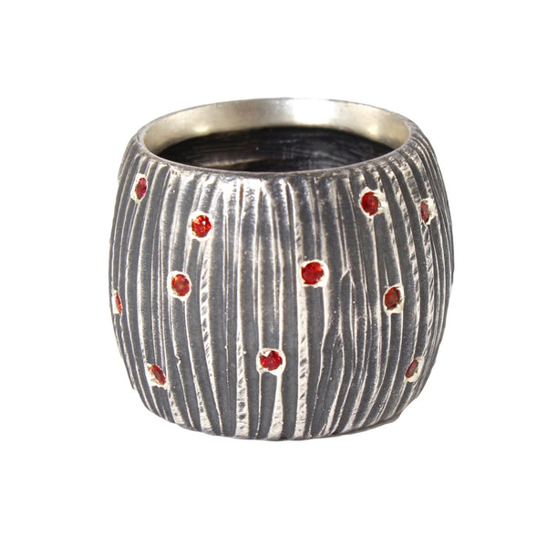Oxidized Vertical Dig with Orange Sapphires Ring by Dahlia Kanner