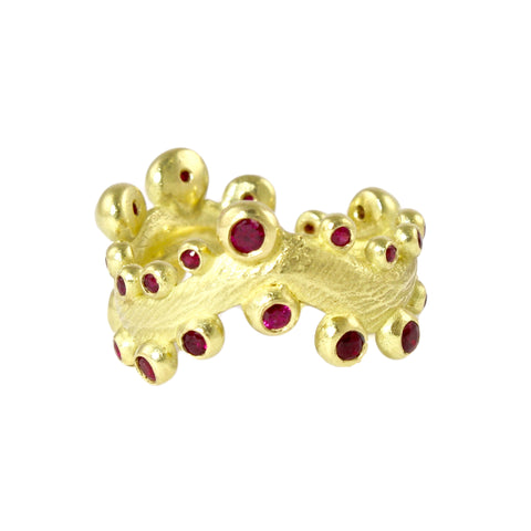 18k Seaweed Band with Rubies by Dahlia Kanner