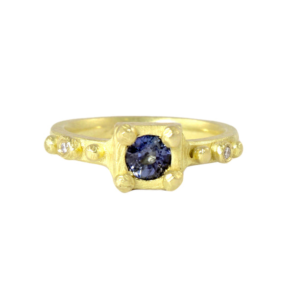 18k Sapphire and Diamonds Ring by Dahlia Kanner