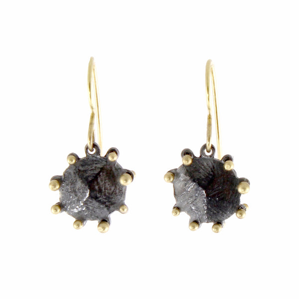 Oxidized and 18k Facet Earrings by Dahlia Kanner