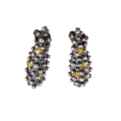 Oxidized Bumpy with Yellow Sapphire Earrings by Dahlia Kanner