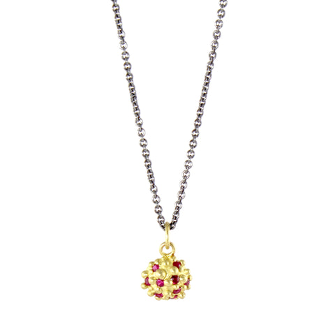 18k Bumpy with Rubies Necklace by Dahlia Kanner