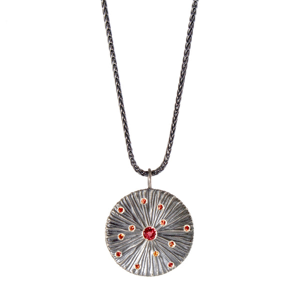 Oxidized Dig with Orange Sapphires Necklace by Dahlia Kanner