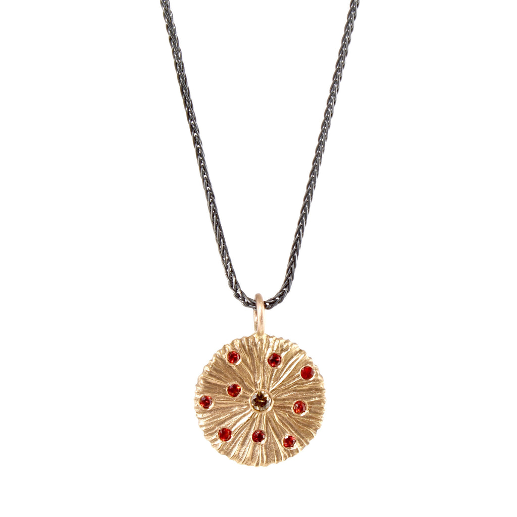 18k Rose Gold Dig with Sapphires and a Diamond Pendant by Dahlia Kanner