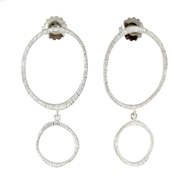 Sterling Silver Dig Double Drop Earrings by Dahlia Kanner