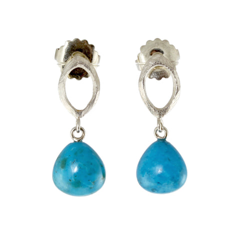 Sterling Silver Facet with Turquoise Earrings by Dahlia Kanner
