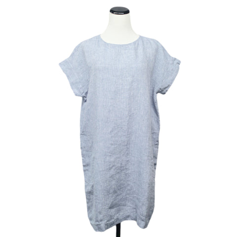 NEW! Washed Linen Boxy Dress in Blue/White by Studio 412/Nuthatch