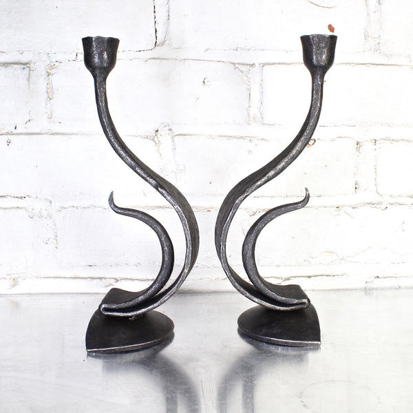 Recurve Candle Pair by Blackthorne Forge