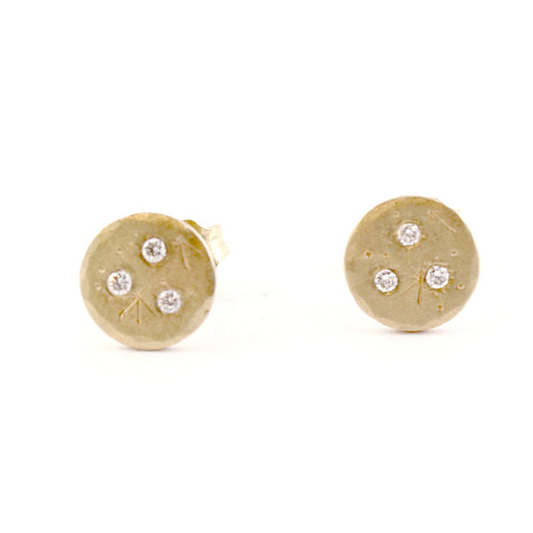 Medium Diamond Treasure Coin Studs by Sarah Swell - Fire Opal - 1