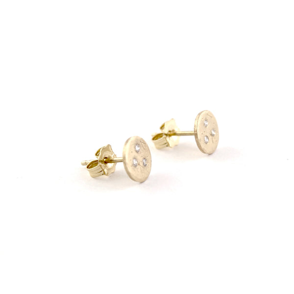 Medium Diamond Treasure Coin Studs by Sarah Swell - Fire Opal - 2
