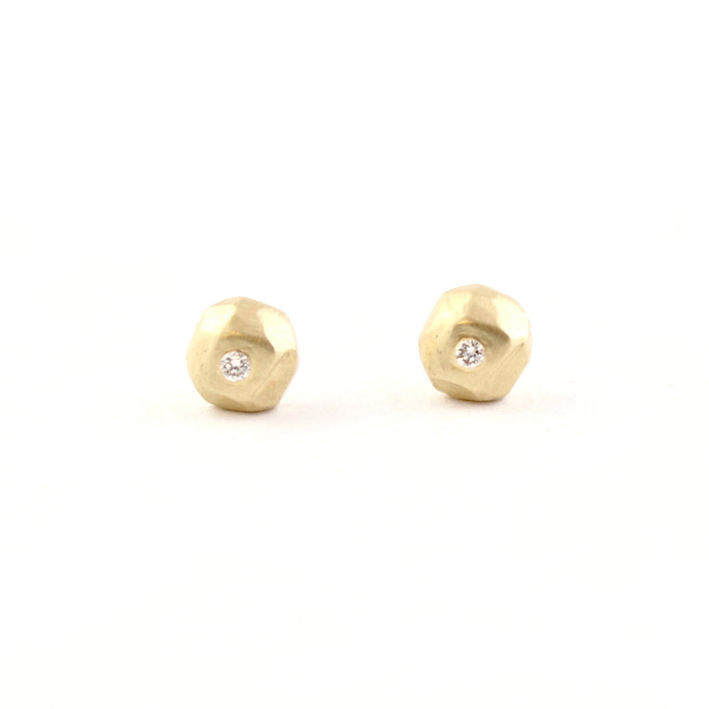 Gold Mini Ore Studs by Sarah Swell - Fire Opal - 1