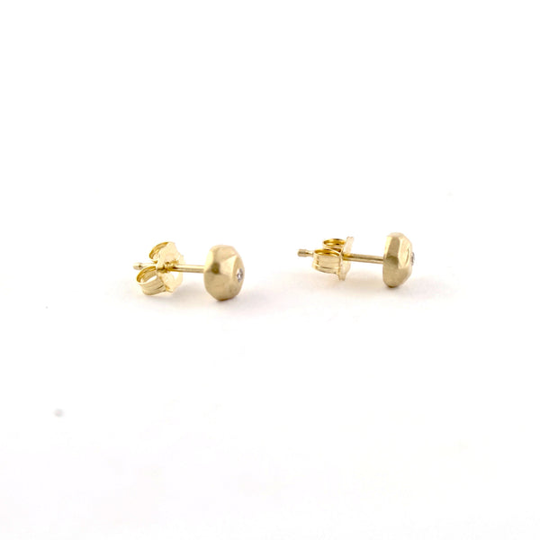 Gold Mini Ore Studs by Sarah Swell - Fire Opal - 2