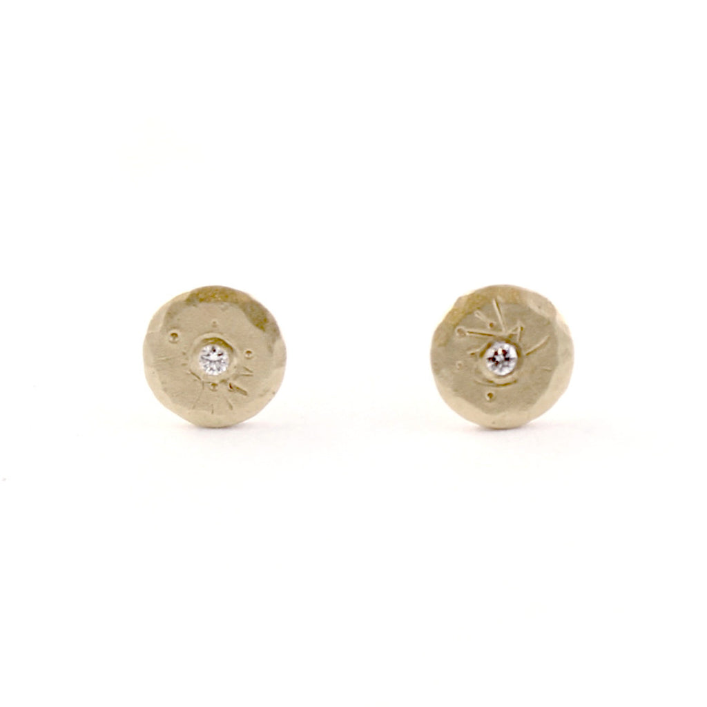 Mini Diamond Treasure Coin Studs by Sarah Swell - Fire Opal - 1