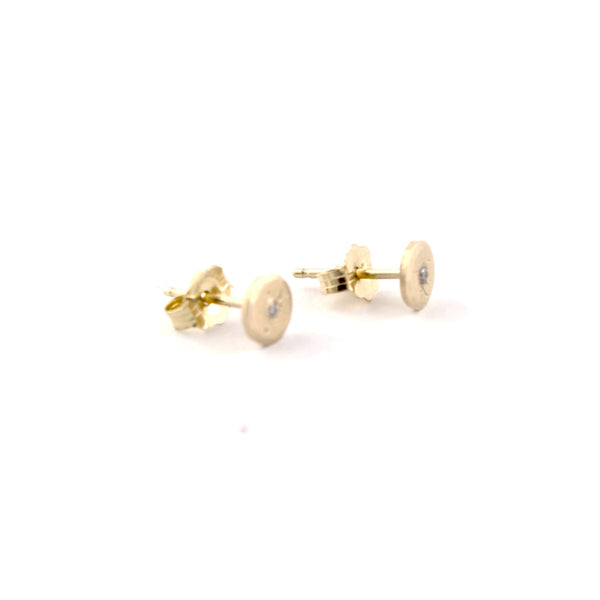 Mini Diamond Treasure Coin Studs by Sarah Swell - Fire Opal - 2