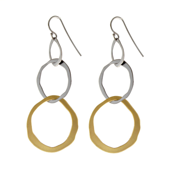 Three Rough Cut Graduated Interlock Earrings by Lisa Crowder