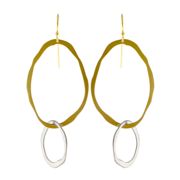 Thin Rough Cut Interlock Earrings by Lisa Crowder