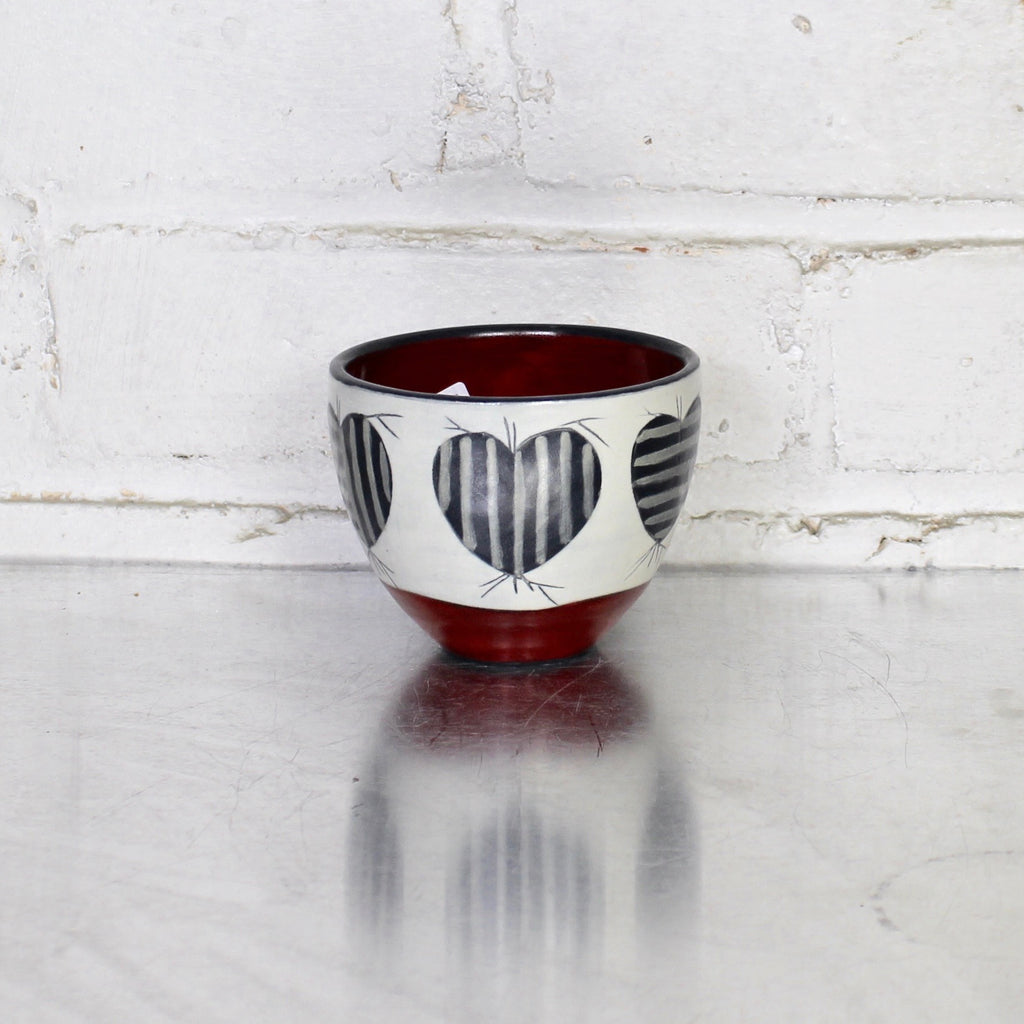 Illustrated Tea Bowl by Sally Jaffee - Red