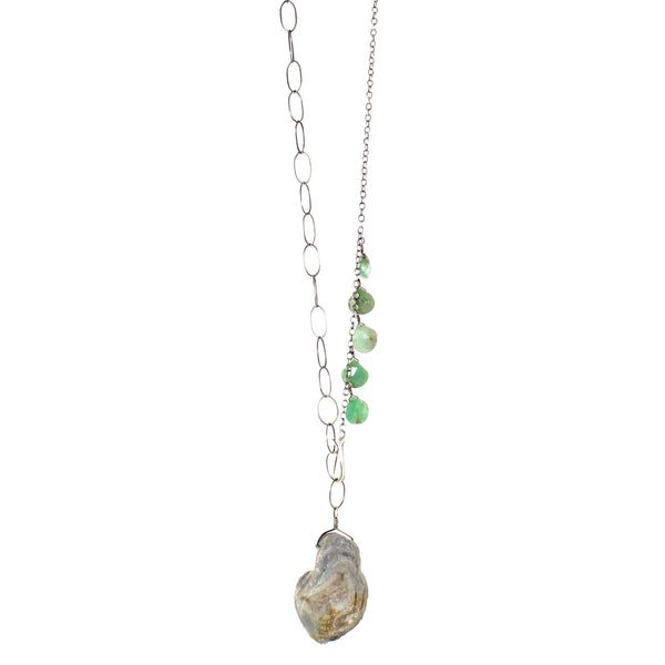 Chrysoprase and Druzy Necklace by Eric Silva - Fire Opal - 1