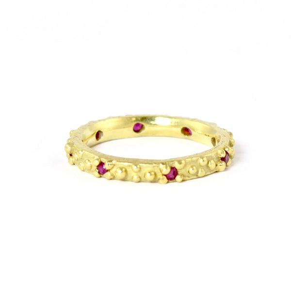 18k Bumpy Ruby Band by Dahlia Kanner - Fire Opal - 2