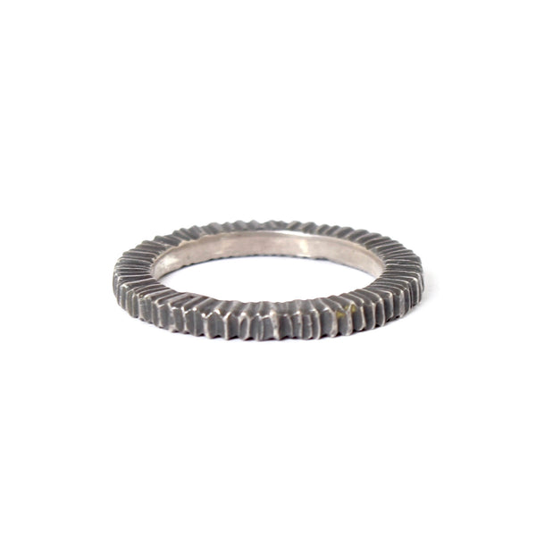 Oxidized Sterling Silver Chunky Vertical Dig Band by Dahlia Kanner - Fire Opal