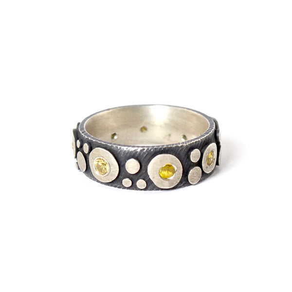 Oxidized Sterling Silver Disco with Yellow Sapphire Band by Dahlia Kanner - Fire Opal - 1