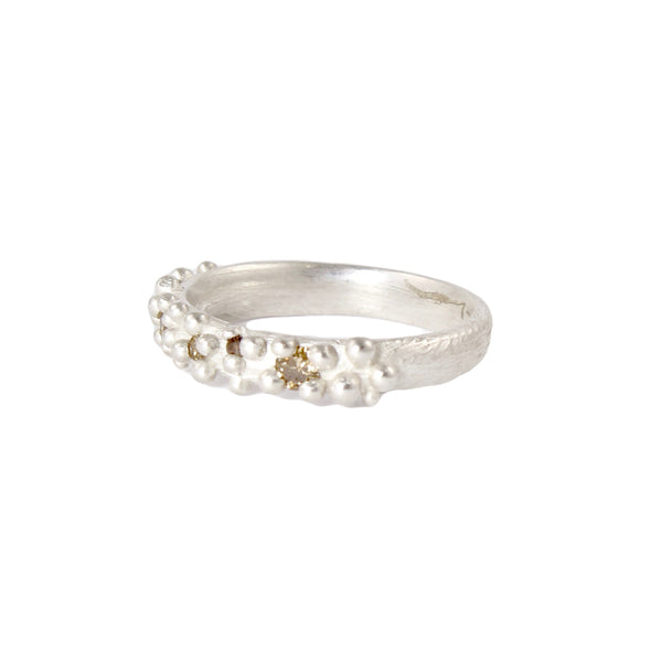 Thin Bumpy Ring with Five Chocolate Diamonds by Dahlia Kanner