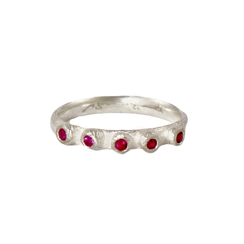 Thin Barnacle Band with Five Rubies in Silver by Dahlia Kanner