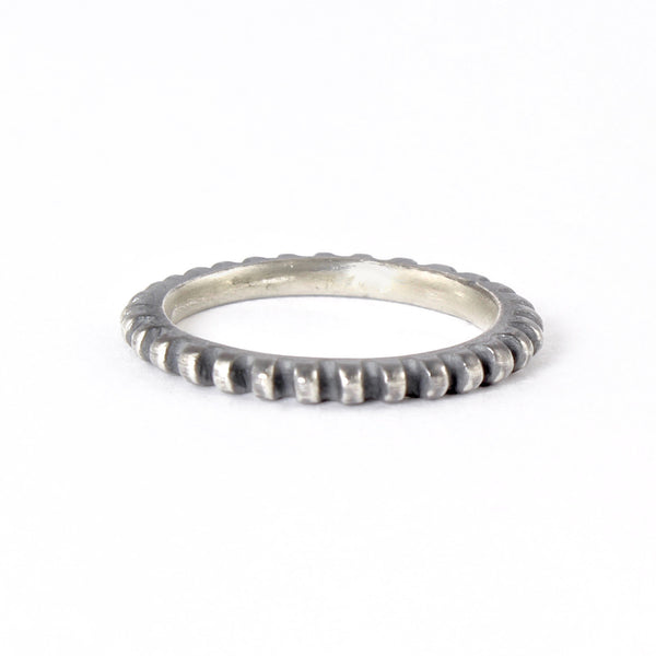 Thin Comb Band in Oxidized Silver by Dahlia Kanner