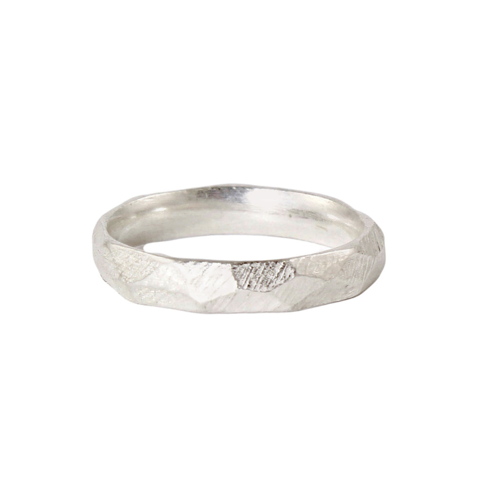 Thin Facet Band in Sterling Silver by Dahlia Kanner
