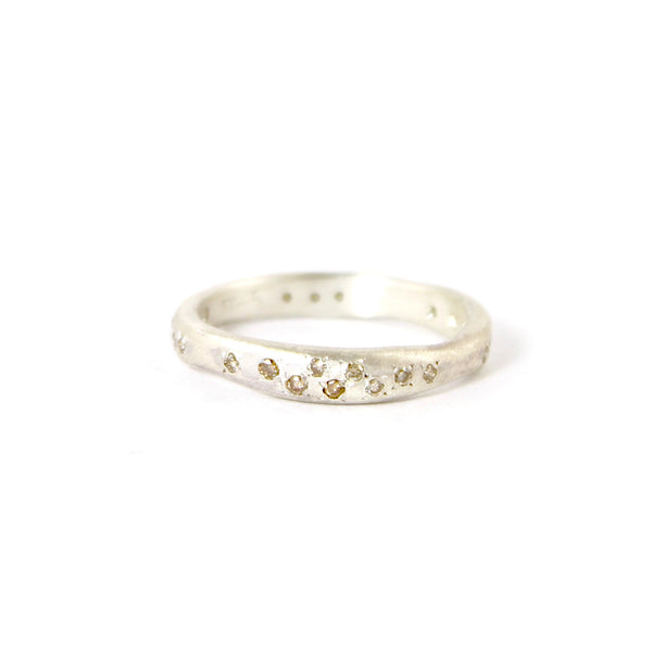 Sterling Silver Wavy Band with Brown Diamonds by Yasuko Azuma