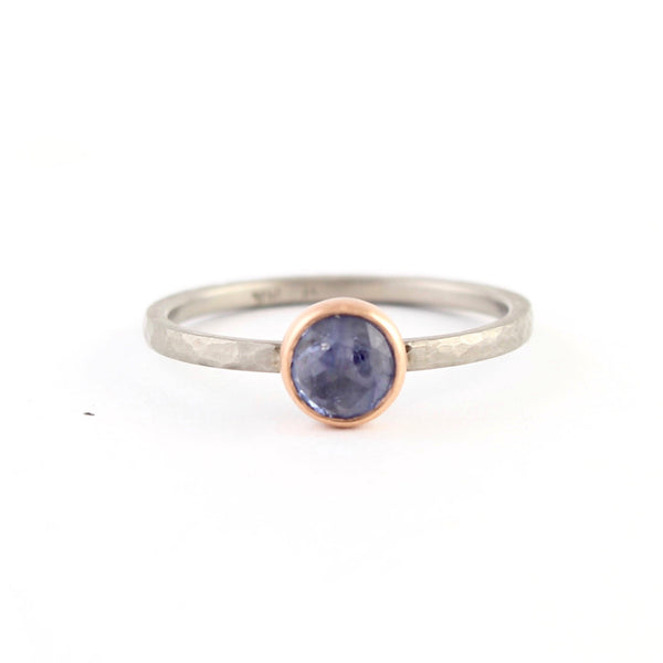 Rose Cut Blue Sapphire Ring by EC Design - Fire Opal - 1