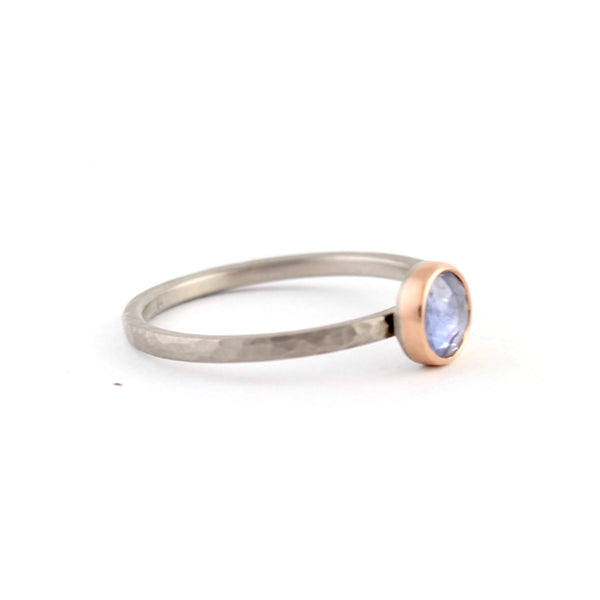 Rose Cut Blue Sapphire Ring by EC Design - Fire Opal - 2